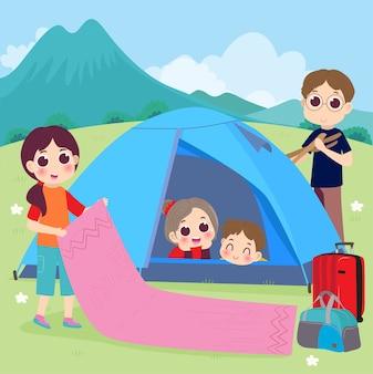 Rodzinny kemping wakacyjny