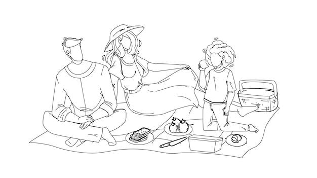 Rodzinny mężczyzna na pikniku kobieta i dziewczyna w przyrodzie