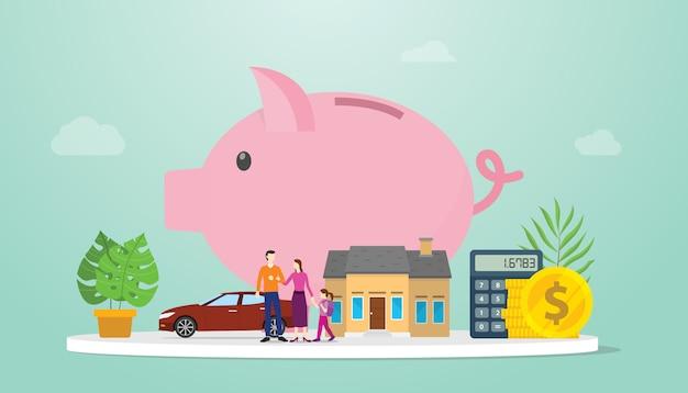 Rodzinny oszczędzania zarządzanie finansami plan z prosiątko bankiem i mała rodzina rodzice z nowożytnym mieszkaniem projektujemy - wektor