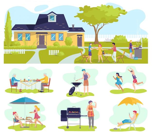 Rodzinny piknik grillowy latem zestaw ilustracji, grill z ojcem, mama grillująca mięso, bawiące się dzieci.