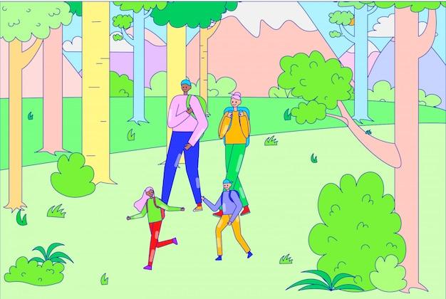 Rodzinny relaksujący spacer wycieczkuje obozujący plenerowego drzewnego lasowego miejsce, charakteru ojca matki matki chłopiec córki przespacerowania lasu linia, ilustracyjna sztuka.