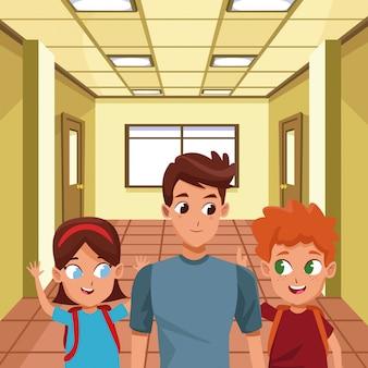 Rodzinny samotny ojciec z dziećmi