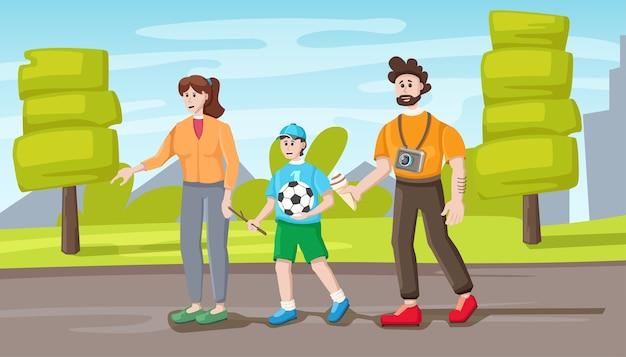 Rodzinny spacer w parku, ilustracja kreskówka. ojciec, matka i syn.