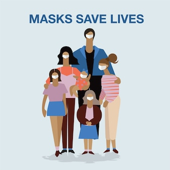 Rodzinny tata, mama córka nadal nosi ochronną maskę medyczną, aby zapobiec wirusowi covid-19 razem