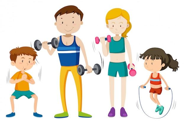Rodzinny trening wpólnie na białym vackground