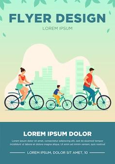 Rodzinny weekend na świeżym powietrzu. mężczyzna, kobieta, chłopiec na rowerach w parku. para rodziców na rowerze z synem. ilustracja wektorowa na lato, wypoczynek, koncepcja rekreacji