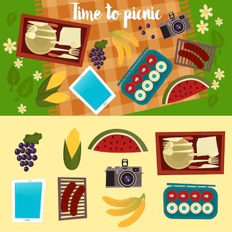 Rodzinny weekend. zestaw piknikowy. letni piknik.