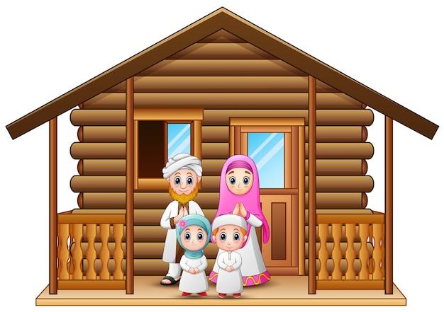 Rodziny muzułmańskich kreskówka w drewnianym domu
