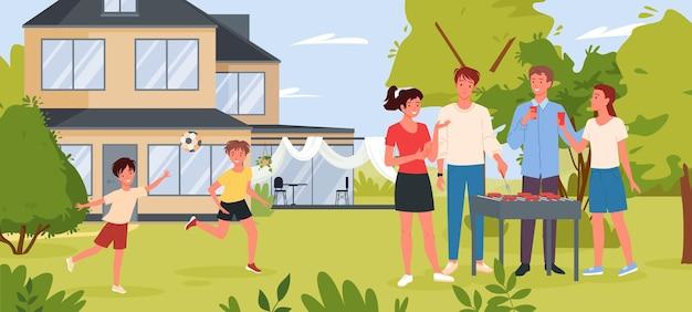 Rodziny na imprezie przy grillu w przydomowym ogrodzie lub w letnim parku, gotowanie kiełbasek mięsnych z grilla