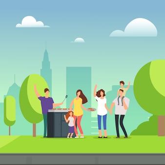 Rodziny postaci z kreskówek spoczywa na grill piknik w parku