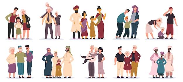 Rodziny wielorasowe. szczęśliwe matki, ojcowie i dzieci, uśmiechnięty portret rodziny