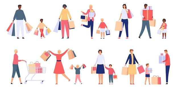 Rodziny zakupowe. mężczyzna, kobieta i dzieci przechowują wózek, torby i pudełka. postacie kupujących na wyprzedaży świątecznej. płaskie konsumentów ludzie wektor zestaw. ilustracja kreskówka rodzina robi zakupy, konsumpcjonizm wesoły