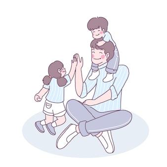Rodziny żyją razem w miłości, zabawie i cieple.