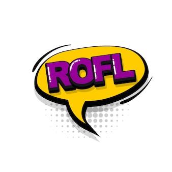 Rofl lol komiks efekty dźwiękowe w stylu pop-art wektor dymek słowo kreskówka