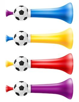 Róg atrybutu futbolowa piłka nożna i wielbiciele sportu ilustracyjni
