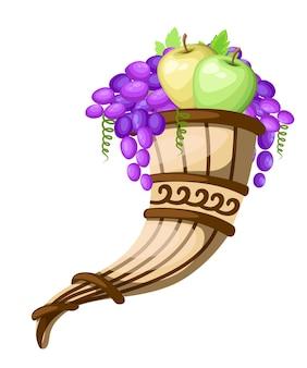 Róg do picia z winogronami i jabłkami. starożytny rhyton. kultura grecka lub rzymska. brązowy kolor i wzory. ilustracja na białym tle. ikona greckiej ceramiki.