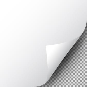Róg strony na przezroczystej kartce papieru. realistyczny zwinięty róg papieru z cieniem.