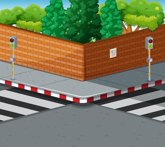 Róg ulicy z dwoma przejściami dla pieszych