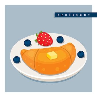 Rogalik francuski z masłem, truskawkami i jagodami na talerzu.