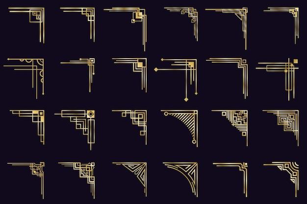 Rogi w stylu art deco. vintage złote arabskie geometryczne obramowania, ozdobne złote dzielniki, zestaw ikon antycznych eleganckich narożników. obramowanie ozdobny róg, vintage złote antyczne ilustracji