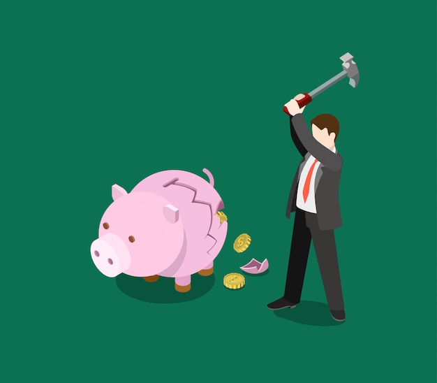 Roi zwrot z inwestycji biznes pieniądze finansowe oszczędzanie pieniężne koncepcja izometryczny ilustracja mężczyzna katastrofa skarbonka skarbonka monety wypadają