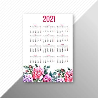 Rok 2021 piękny kolorowy kwiatowy szablon kalendarza