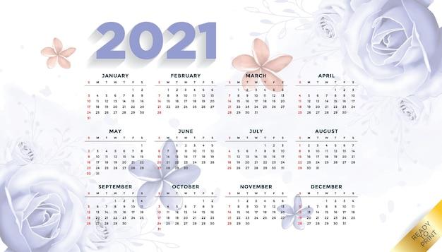 Rok 2021 układ kalendarza kwiatowy szablon tło z pięknym kwiatem