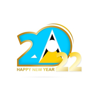 Rok 2022 z flagą saint lucia. projekt szczęśliwego nowego roku.