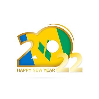 Rok 2022 ze wzorem flagi saint vincent i grenadyny. projekt szczęśliwego nowego roku.