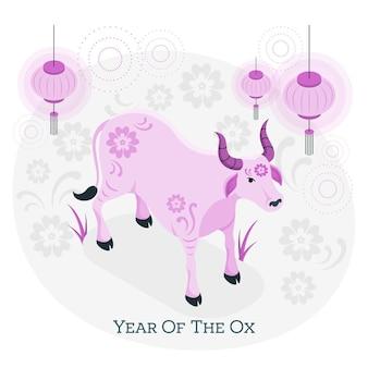 Rok ilustracji koncepcja wołu