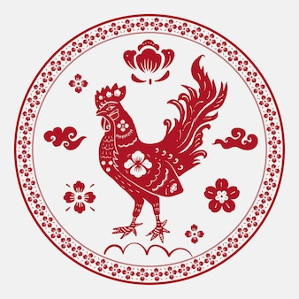 Rok koguta odznaka wektor czerwony chiński horoskop zwierzę