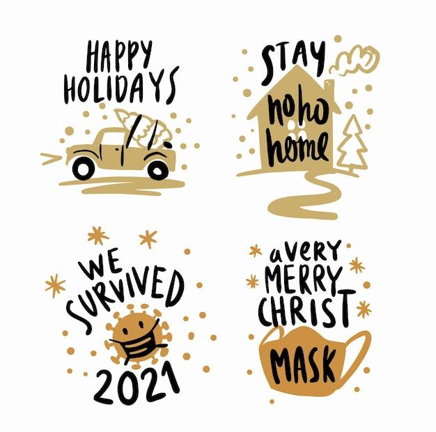 Rok został w domu. literowanie świątecznego plakatu z tekstem. covid motyw