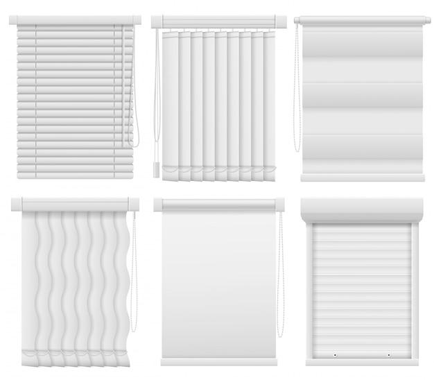 Rolety okienne. pozioma, pionowa zamknięta i otwarta żaluzja. zaciemniające zasłony, makiety elementów wnętrza pomieszczeń biurowych