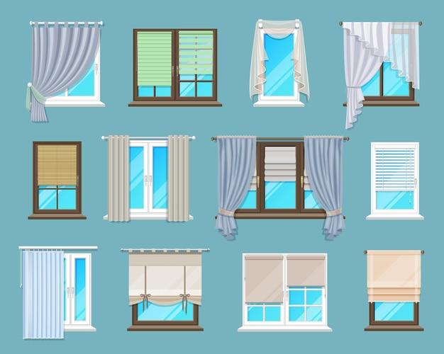 Rolety okienne, rolety i zasłony do wnętrz domowych i biurowych. zestaw osłon okiennych do mieszkania lub domu. kreskówka wektor perskie, weneckie i rzymskie odcienie poziome, długie zasłony z tkaniny i tiul