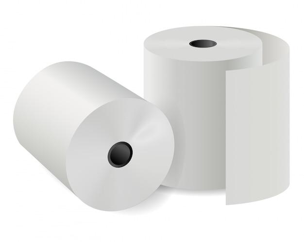 Rolka papieru kasowego. biały cylinder termiczny
