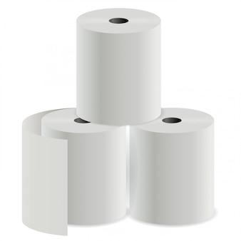 Rolka Papieru Toaletowego. Cylinder Drukujący Rejestr Termiczny Premium Wektorów
