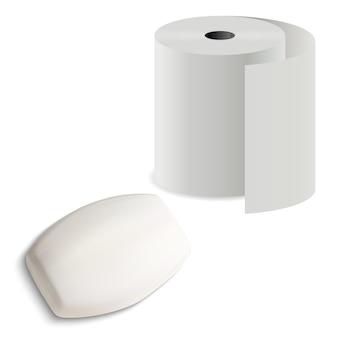 Rolka papieru toaletowego z kostką mydła, ilustracja, realistyczny solidny batonik z zestawem cylindrów na ręczniki kuchenne do higieny