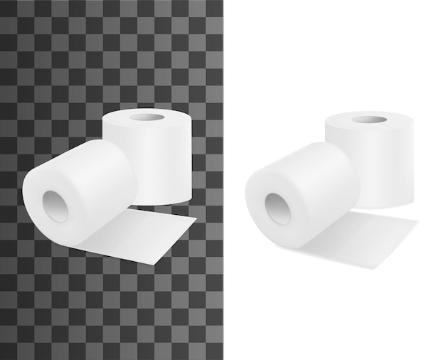 Rolka toaletowa, realistyczny papier toaletowy, wektor 3d na białym tle makiety. rolki papieru toaletowego, chusteczka higieniczna i ręcznik wc, pusta izolowana taśma na przezroczystym tle