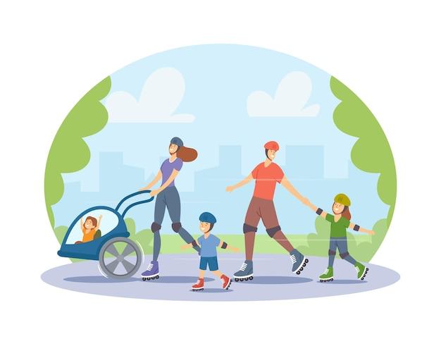 Rolki rodzinne wypoczynek i sport. postacie matki, ojca i małych dzieci spacerujące po parku miejskim lub na łyżwach ulicznych