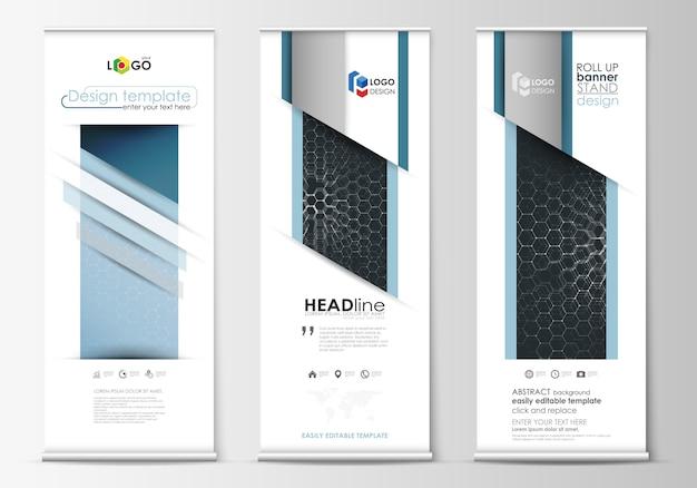 Roll up stojaki na banery, abstrakcyjne geometryczne szablony w stylu, ulotki firmowe pionowe wektorowe, układy flag.