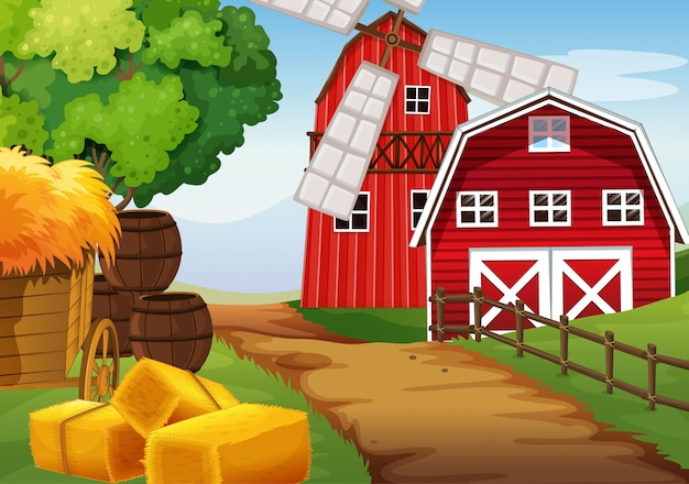 Rolna scena w naturze z stajnią i wiatraczkiem