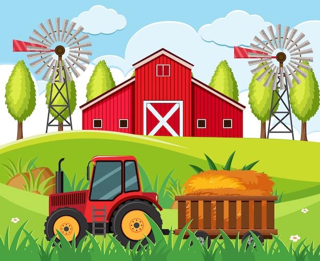 Rolna scena z czerwonym ciągnikiem i stajnią na wzgórzach