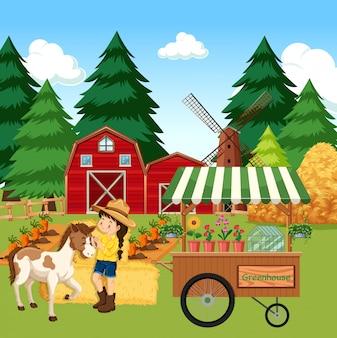 Rolna scena z dziewczyną i koniem na gospodarstwie rolnym