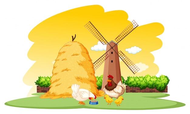 Rolna scena z kurczakami i wiatraczkiem na gospodarstwie rolnym
