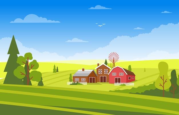 Rolnictwa pola gospodarstwa wiejskiej łąki natury sceny krajobrazu ilustracja