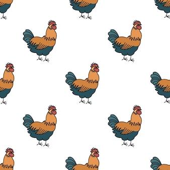Rolnictwo bez szwu deseń rooster