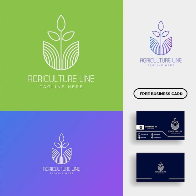 Rolnictwo eco zielona linia sztuka logo szablon element ikona