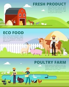 Rolnictwo ekologiczne i banery agrobiznesu z postaciami rolnika kreskówek i zestawem wektorów zwierząt gospodarskich
