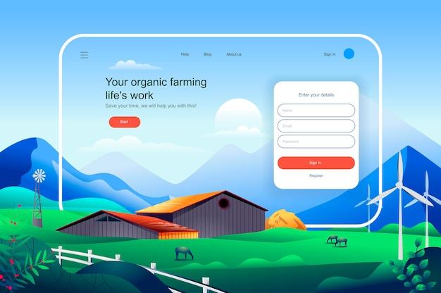 Rolnictwo ekologiczne życie pracy szablon strony docelowej ilustracji wektorowych