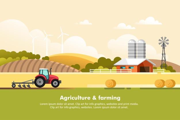 Rolnictwo i rolnictwo. agrobiznes. wiejski krajobraz. projektowanie elementów grafiki informacyjnej, stron internetowych i mediów drukowanych.